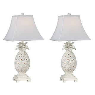 Seahaven Accent Cottage White 22.5-inch-high Pineapple Night Light Table Lamp (Set of 2)