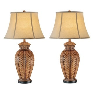 Seahaven Antique Brown Wicker/Resin/Fabric 32.5-inch Night Light Table Lamp