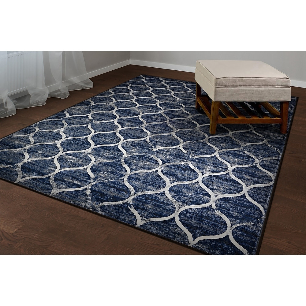 "Plush Dusk Rug: Couristan Easton Ogee Dusk Blue Area Rug - 3'11"" X 5'3"""