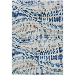 Couristan Easton Charles Bone/Blue/Multicolored Area Rug (7'6 x 5'3) (As Is Item)