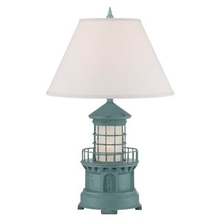 "Seahaven Sky Blue Lighthouse Night Light Table Lamp 27"" high"