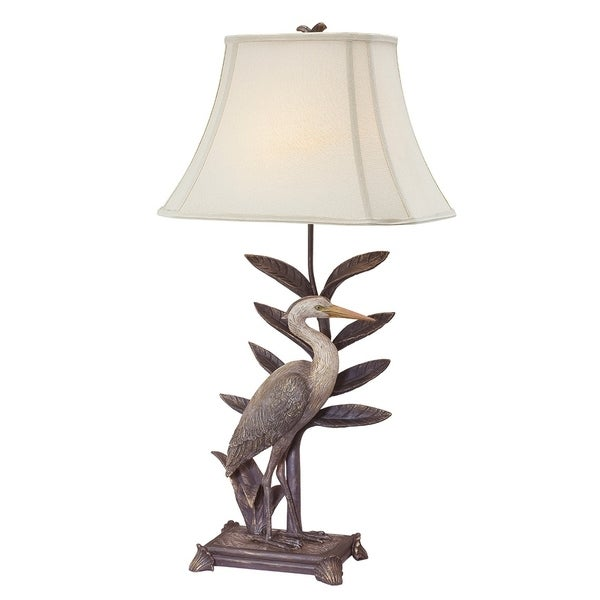 """Seahaven Antique Heron Right Facing Table Lamp 33.5"""" high"""