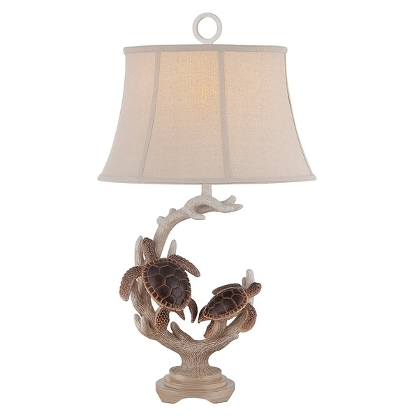"Seahaven Twin Turtle Staghorn Table Lamp 31.5"" high"