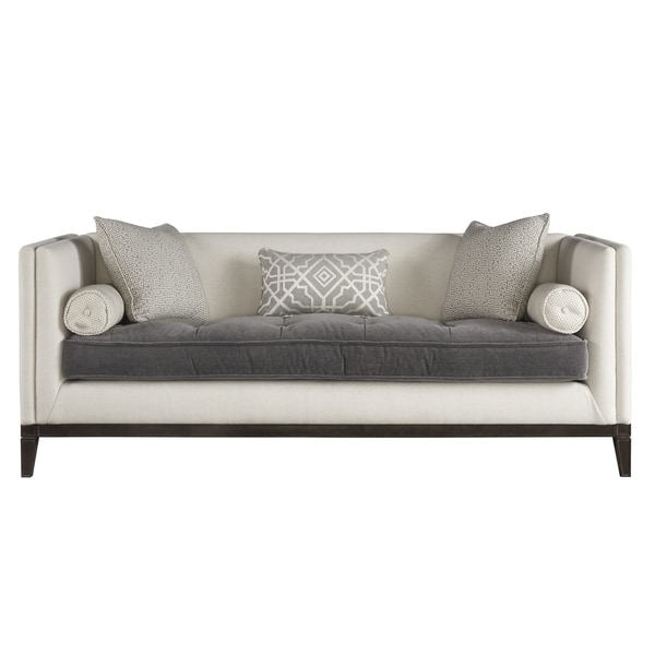 Curated Ivory And Grey Button Tufted Hartley Sofa