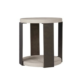 Modern Bronze and Quartz Round Wilder End Table