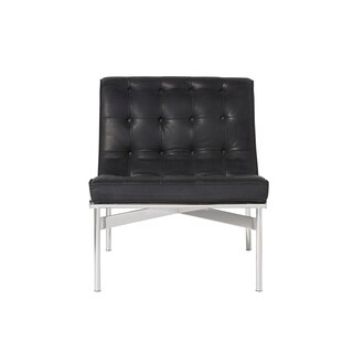 Universal Furniture Shannon Modern Burnham Black Full-top-grain Leather and Stainless Steel Upholstered Button-tufted Chair