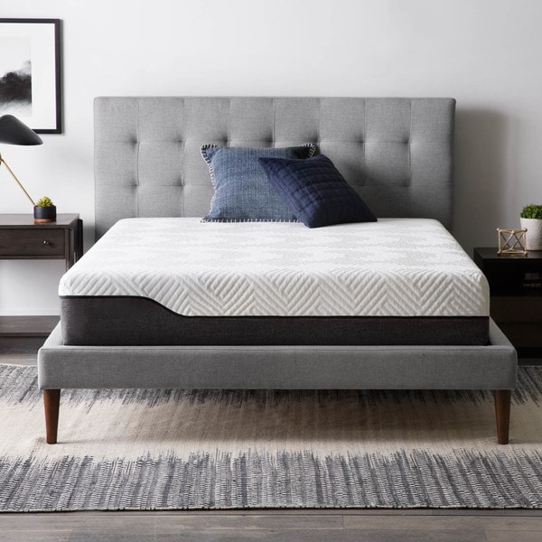 LUCID Comfort Collection 10 Inch Queen Size Bamboo Charcoal Memory Foam  Hybrid Mattress