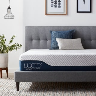 LUCID Comfort Collection 10-inch Queen-size Bamboo Charcoal and Aloe Hybrid Mattress
