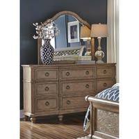 Simply Elegant Wire Brushed Heathered Taupe Dresser and Mirror