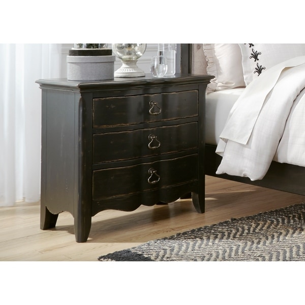 shop chesapeake wire brushed antique black 3 drawer night stand on sale free shipping today. Black Bedroom Furniture Sets. Home Design Ideas