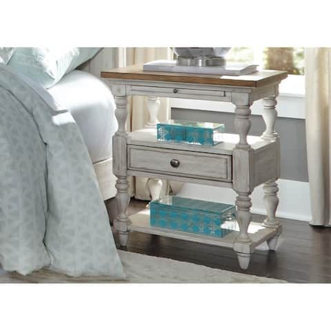 Farmhouse Reimagined Antique White Chestnut Top 1-drawer Night Stand