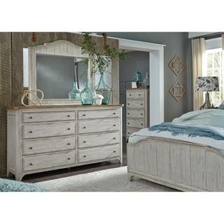 Farmhouse Reimagined Antique White Dresser and Mirror