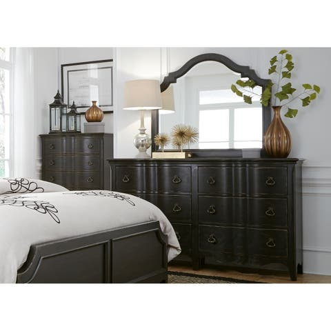 Chesapeake Wire Brushed Antique Black Dresser and Mirror