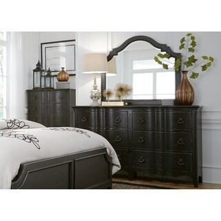 Chesapeake Wire Brushed Antique Black Dresser and Mirror