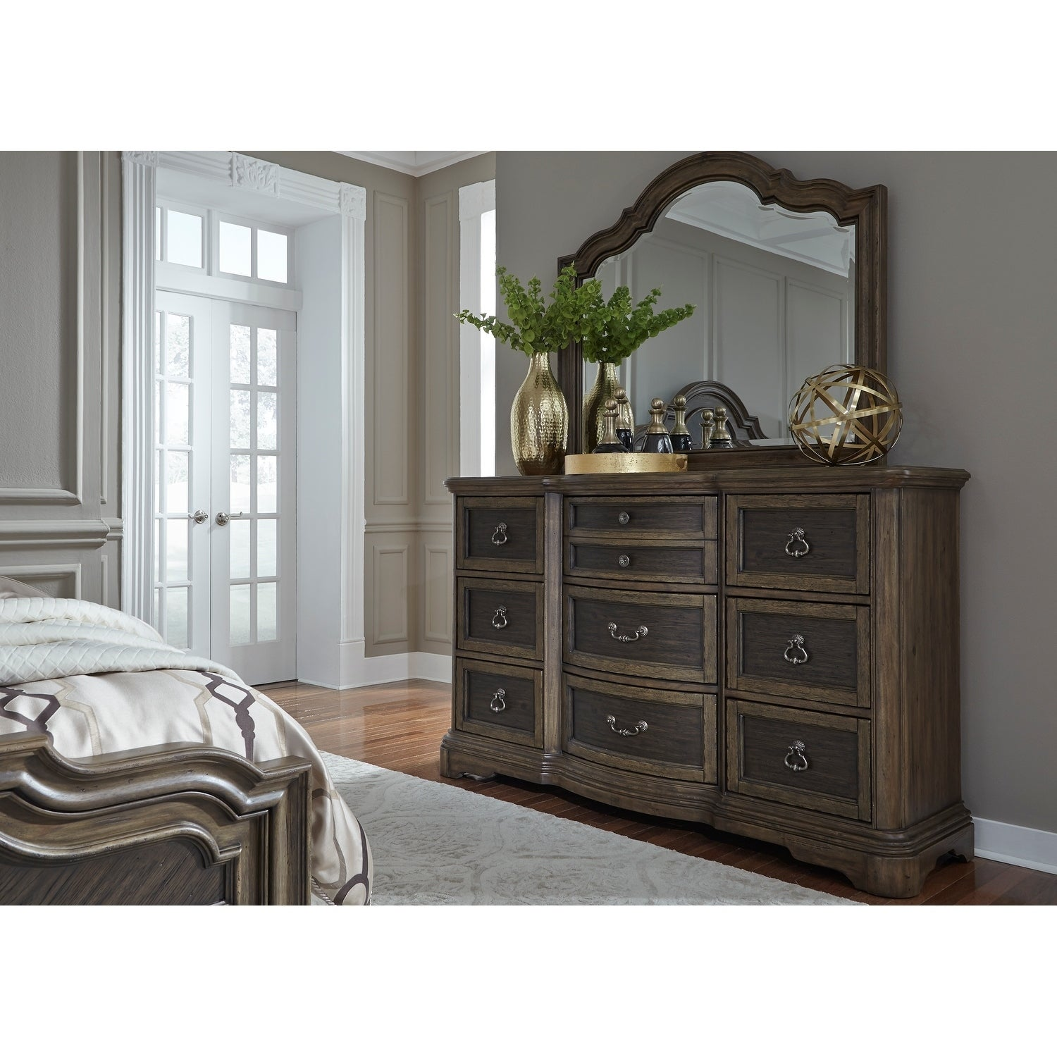 Valley Springs Wire Brushed Light and Dark Chestnut Dresser and Mirror