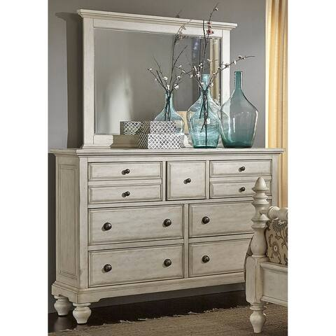 High Country White Dresser and Mirror