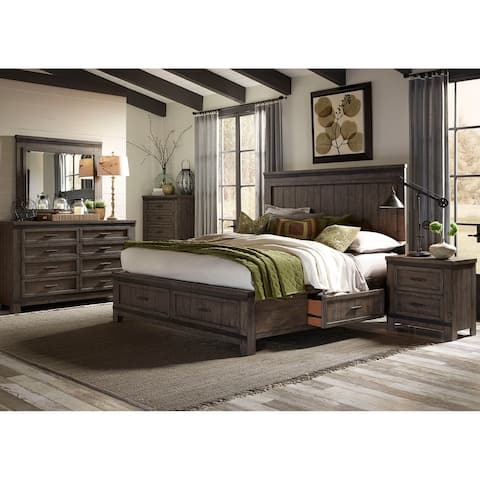 Thornwood Hills Rock Beaten Grey King Two Sided Storage Bed