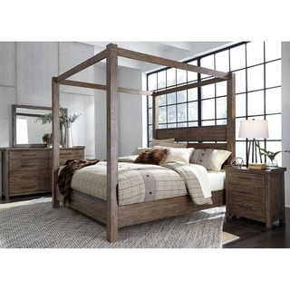 Liberty Sonoma Road Weather-beaten Bark-finish Rubberwood/Hickory Veneer Queen Canopy Bed
