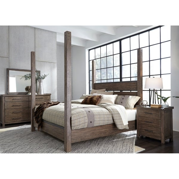Sonoma Road Weather Beaten Bark King Poster Bed
