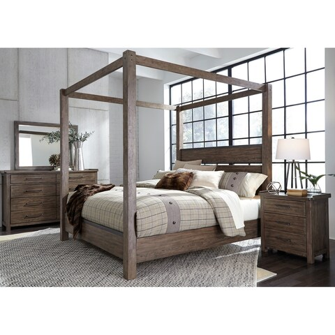 Sonoma Road Weather Beaten Bark King Canopy Bed