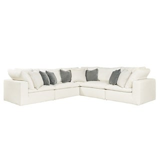 Lionel White Cotton Fabric Down-Filled L-Shaped Sectional ...