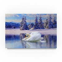 Ata Alishahi 'Swan Winter' Canvas Art