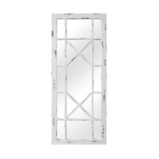 Selections by Chaumont Jardin Geo Distressed White Wash Wood Window Pane Mirror