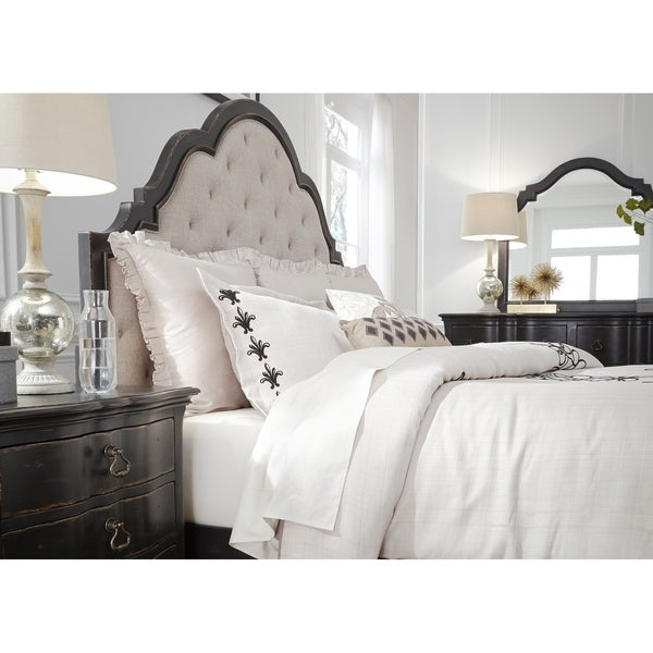 Shop Chesapeake Wire Brushed Antique Black Queen Upholstered Bed ...