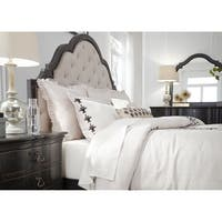 Chesapeake Wire Brushed Antique Black Queen Upholstered Bed
