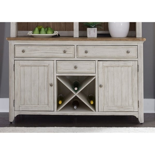 Farmhouse Reimagined Antique White And Chestnut Tops Buffet