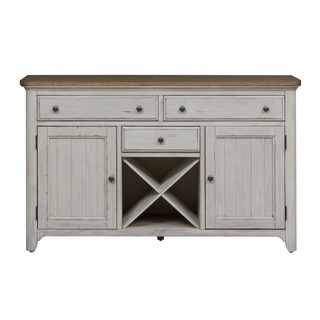 Liberty Farmhouse Reimagined White and Chestnut Brown Wood Buffet