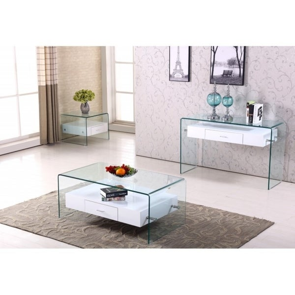 Best Quality Furniture White 3 Piece Coffee End And Console Table Set