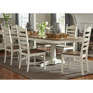 Maison Rouge Berrigan Honey/Cream Wood 7-piece Ladderback Double Pedestal Dinette Set