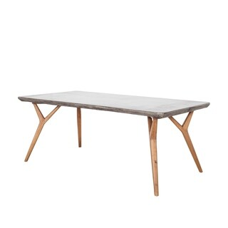 Aurelle Home Modern Wood Concrete Outdoor Dining Table
