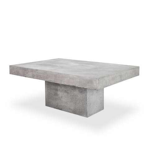 "Aurelle Home Grey Concrete Modern Coffee Table - 31.5"" x 47"" x 18.5"""
