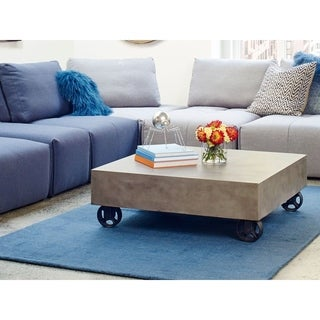 Aurelle Home Grey Concrete Contemporary Modern Coffee Table