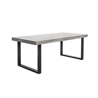 Aurelle Home Grey Concrete 63-inch Outdoor Contemporary Modern Dining Table