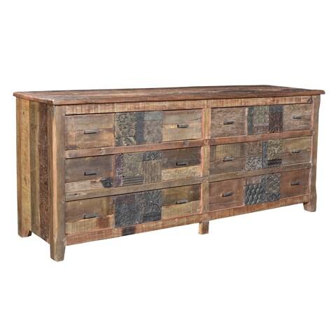 Aurelle Home Norman Rustic Reclaimed Wood 6-drawer Dresser