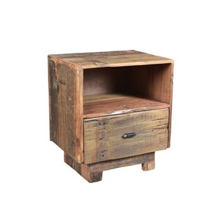 Aurelle Home Klondike Reclaimed Rustic Brown Wood Nightstand