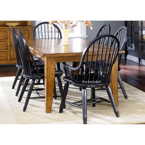 Treasures Rustic Oak and Black 5-piece Sheaf Back Solid Top Dinette Set