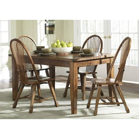 Treasures Rustic Oak 5-piece Sheaf Back Retractable Dinette Set