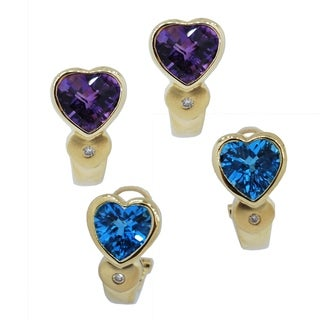Kabella 14k gold Heart Shape 8mm Birthstone Gemstone Earrings