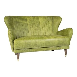 Aurelle Home Tight Back Leather Mid-Century Modern Contemporary Loveseat