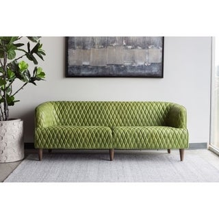 Aurelle Home Contemporary Modern Leather Tufted Sofa