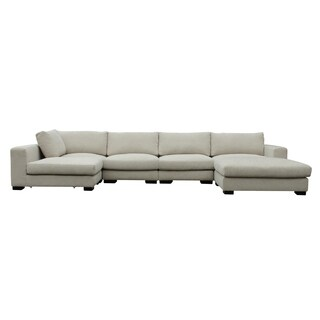 Colombo Cream White Upholstered Sectional Sofa