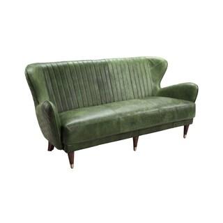 Copper Green Leather Mid Century Modern Sofa