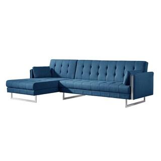 Aurelle Home Palomino Grey Upholstered Sofa