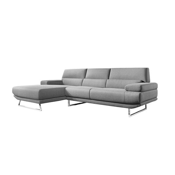 Aurelle Home Blossom Dark Grey Sectional Sofa