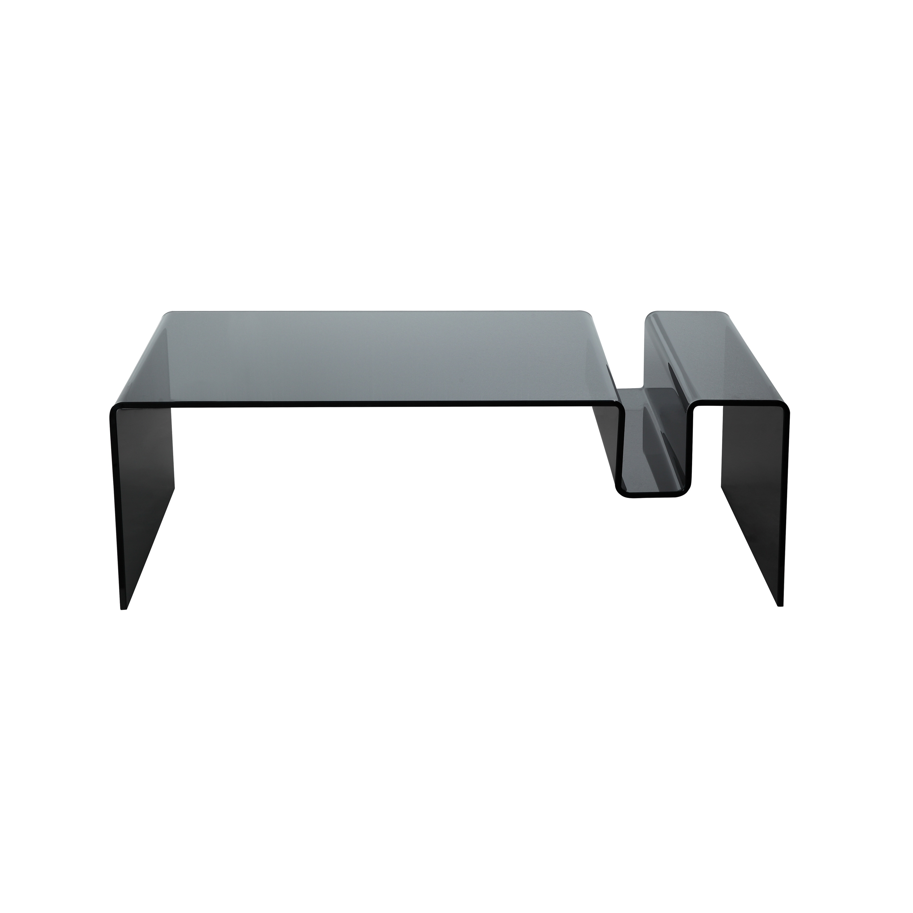 Aurelle Home Clarity Grey Glass Smoked Coffee Table