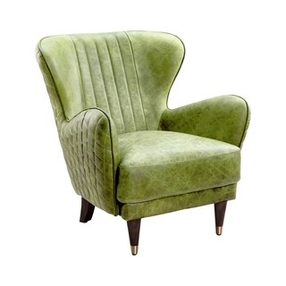 Aurelle Home Keaton Chartreuse Emerald Leather Arm Chair
